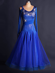 Ballroom Dance Dresses Women's Training Spandex Organza Appliques Crystals/Rhinestones 1 Piece Long Sleeve High Dress