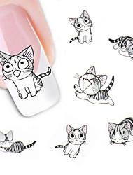 2Sheet Lovely Sweet Water Transfer 3D Grey Cute Cat Nail Art Sticker Full Wraps Manicure Decal DIY