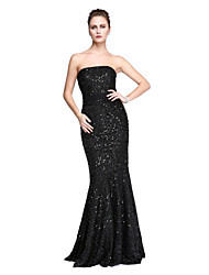 Mermaid / Trumpet Strapless Floor Length Lace Prom Formal Evening Dress with Lace Side Draping Pleats by TS Couture®
