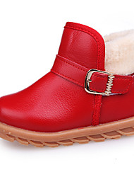Kids Girl's Boots Spring / Fall / Winter Comfort / Ankle Strap Leather Outdoor / Casual Low Heel Zipper Red / Yellow / Black