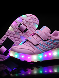 Mädchen-Sneaker-Outddor Lässig Sportlich-Leder-Niedriger Absatz-Komfort Light Up Schuhe-Schwarz Rosa