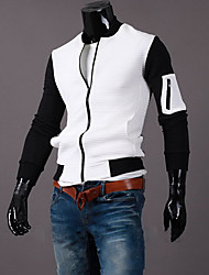 Men's Going out Simple Jackets,Color Block Stand Long Sleeve Fall White / Black Cotton Medium