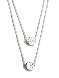 SILVERAGE Sterling Silver Engraved LOVE Characters Layered Necklace 18''