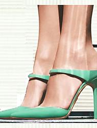 Feminino-Saltos-Sapatos com Bolsa Combinando-Salto Agulha-Verde-Courino-Casual / Festas & Noite