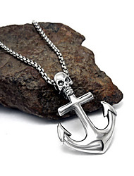 Men's Women's Couple's Pendant Necklaces Jewelry Stainless Steel Cross Skull / Skeleton Unique Design Dangling Style Silver Jewelry