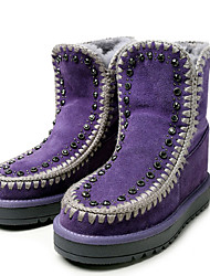 Черный Фиолетовый-Женский-Повседневный-Замша-На платформе-На платформе-Ботинки