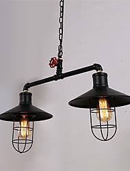 2 Heads Retro Industrial Pendant Lights Simple Loft  Black Birdcage Metal Dining Room Kitchen Bar Cafe Light Fixture