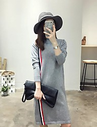 Women's Going out / Casual/Daily Simple / Cute Sheath Dress,Patchwork Turtleneck Knee-length Long Sleeve Gray Cotton Fall / WinterMid
