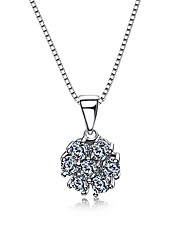 Flower 925 Sterling Silver Fashion Wedding Necklace pendant chain Jewelry Cubic Zircon For Women Sweater chain