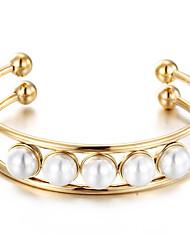 Kalen New Fashion Stainless Steel&Pearl Bracelets For Women Gold Rose Gold Silver Tri-color Bangles Girls Bracelets Friendship Gifts