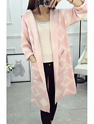 Women's Going out / Casual/Daily Cute Long Cardigan,Print Pink / Black Hooded Long Sleeve Wool Fall / Winter Thick Micro-elastic