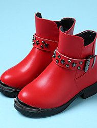 Girl's Boots Comfort PU Casual Black / Red