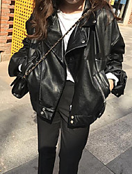 Women's Casual/Daily Simple Leather Jackets,Solid Long Sleeve Fall / Winter Black PU Medium