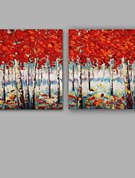 Peint à la main Abstrait / Paysages Abstraits Peintures à l'huile,Modern / Classique Deux Panneaux Toile Peinture à l'huile Hang-peintFor