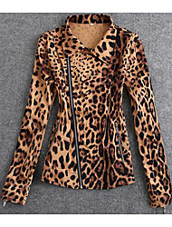 Women's Plus Size / Casual/Daily Simple Jackets,Leopard Long Sleeve Fall / Winter Yellow Cotton Medium