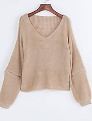 Long Pullover Femme Décontracté / Quotidien Chic de Rue,Couleur Pleine Marron Col en V Manches Longues Polyester Automne Fin