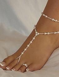 mulher branco pérola tornozeleira fecho da lagosta