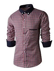 Men's Going out Simple Fall Shirt,Check Shirt Collar Long Sleeve Red / Gray Cotton Medium