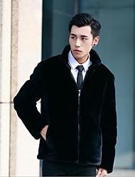 Для мужчин зима Пальто с мехомпросто Однотонный