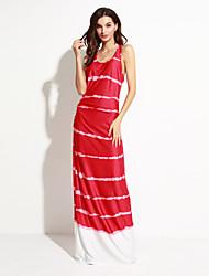 Women's Going out Street chic Sheath Dress,Print U Neck Maxi Sleeveless Red / Gray Polyester Summer