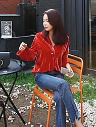 Damen Solide Einfach Lässig/Alltäglich Hemd,V-Ausschnitt Langarm Rot Polyester