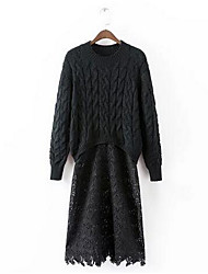 Women's Going out Cute Sweater Dress,Solid Round Neck Midi Long Sleeve White / Black Cotton Spring High Rise Micro-elastic Medium