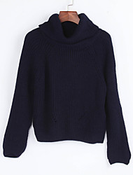 Women's Casual/Daily Street chic Regular Pullover,Solid Blue Turtleneck Long Sleeve Polyester Winter Thin