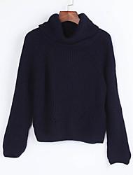 Normal Pullover Femme Décontracté / Quotidien Chic de Rue,Couleur Pleine Bleu Col Roulé Manches Longues Polyester Hiver Fin