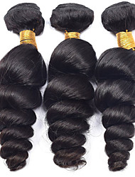 Vinsteen 3 Pieces Loose Wave Unprocessed No Shedding Natural Color Human Hair Weaves Brazilian Texture Human Hair Extensions Hair Wefts