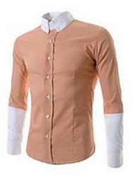 Chemise Hommes,Couleur Pleine Travail / Sortie simple Manches Longues Col Carré Bleu / Noir / Orange Coton
