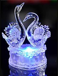 levou cristal dois cisne colorido decoração atmosfera lâmpada de luz de Natal iluminação novidade