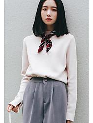 Normal Pullover Femme Décontracté / Quotidien simple,Couleur Pleine Beige Col Roulé Manches Longues Polyester Automne Hiver Moyen