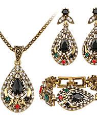 Schmuck 1 Halskette 1 Paar Ohrringe 1 Armreif Kubikzirkonia Normal 1 Set Damen Schwarz Hochzeitsgeschenke