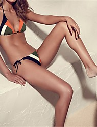 Women's Halter Bikini,Color Block Polyester Orange