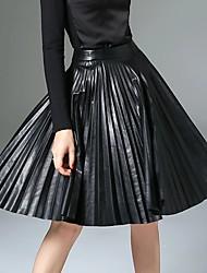 Damen Röcke,A-Linie einfarbig Gefaltet,Ausgehen / Lässig/Alltäglich / Arbeit Einfach / Street Schick / Punk & Gothic Mittlere Hüfthöhe