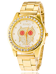 Business Men Women Watch Casual  Ladies Gold Quartz Stainless Steel Band Watch Of Owal Dial With Rhinestone Watch