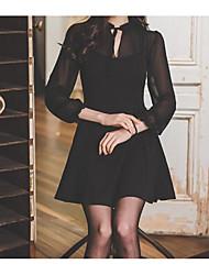 Women's Formal Simple Bodycon Dress,Solid V Neck Above Knee Sleeveless Black Cotton Summer Mid Rise Micro-elastic Medium