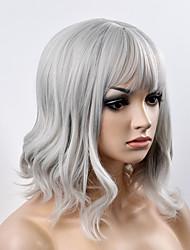 жен. Парики из искусственных волос Без шапочки-основы Короткий Естественные волны Серый Стрижка боб С чёлкой Парик из натуральных волос