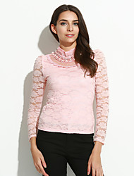 Women's Casual/Daily Simple Spring / Fall / Winter Blouse,Solid Crew Neck Long Sleeve Pink / Black Thin