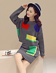 Women's Going out Party/Cocktail Vintage Street chic Sophisticated Regular Pullover,Color Block Multi-color Round Neck Long Sleeve Cotton