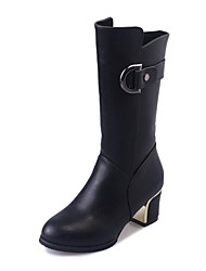 Women's Boots Winter Platform PU Casual Chunky Heel Button Black / Burgundy Walking