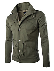 Men's Casual/Daily / Work / Beach Simple / Street chic / Active Jackets,Solid Stand ¾ Sleeve Fall / Autumn Blue / Black / Gray Polyester