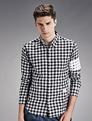 Men's Wedding Work Vintage Street chic All Seasons Shirt,Check Shirt Collar Long Sleeve Cotton