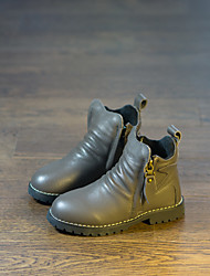 Boys' Boots Comfort Leather Winter Casual Walking Bootie Lace-up Platform Black Gray 1in-1 3/4in