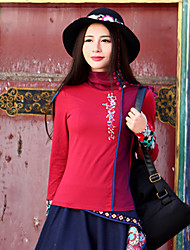 Our Story Women's Casual/Daily Boho Fall T-shirtEmbroidered Stand Long Sleeve Red Cotton / Spandex