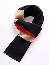Men's Wool Blend Scarf Work/Casual/Calassic Scarf Nature and Warm with Black Color
