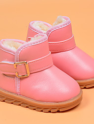 Kids' Girls' Baby Boots Comfort Snow Boots Leatherette Winter Casual Comfort Snow Boots Flat Heel Black Yellow Blushing Pink Flat