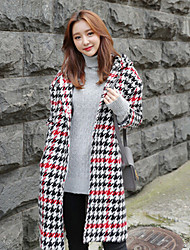 Women's Going out / Casual/Daily / Party/Cocktail Vintage / Simple / Street chic Coat,Houndstooth V Neck Long Sleeve Fall / WinterRed /