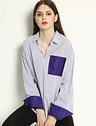 Women's Going out Casual/Daily Simple Fall Shirt,Striped Shirt Collar Long Sleeve Cotton Medium