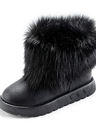 Women's Boots Winter Comfort Fur Casual Flat Heel Black White